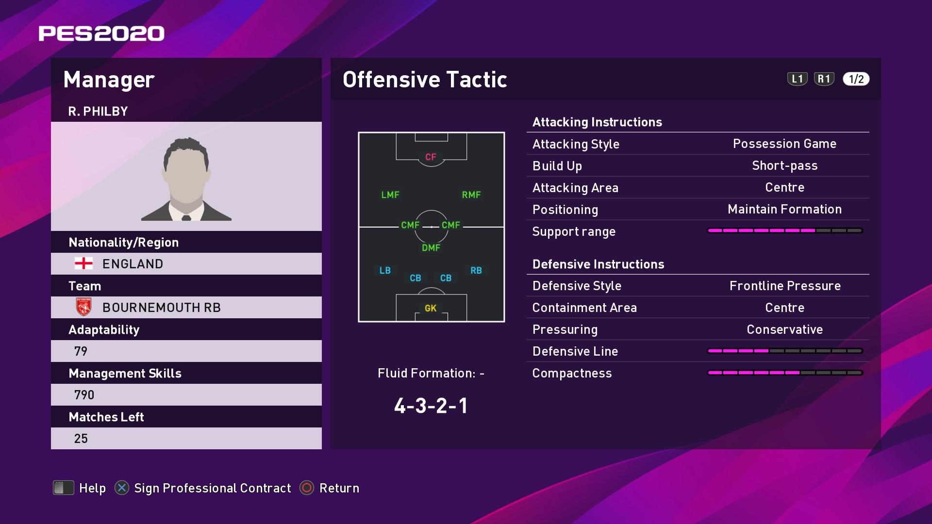 R. Philby (Eddie Howe) Offensive Tactic in PES 2020 myClub