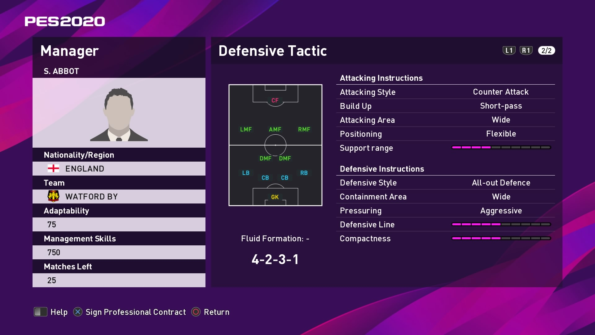 S. Abbot (Nigel Pearson) Defensive Tactic in PES 2020 myClub