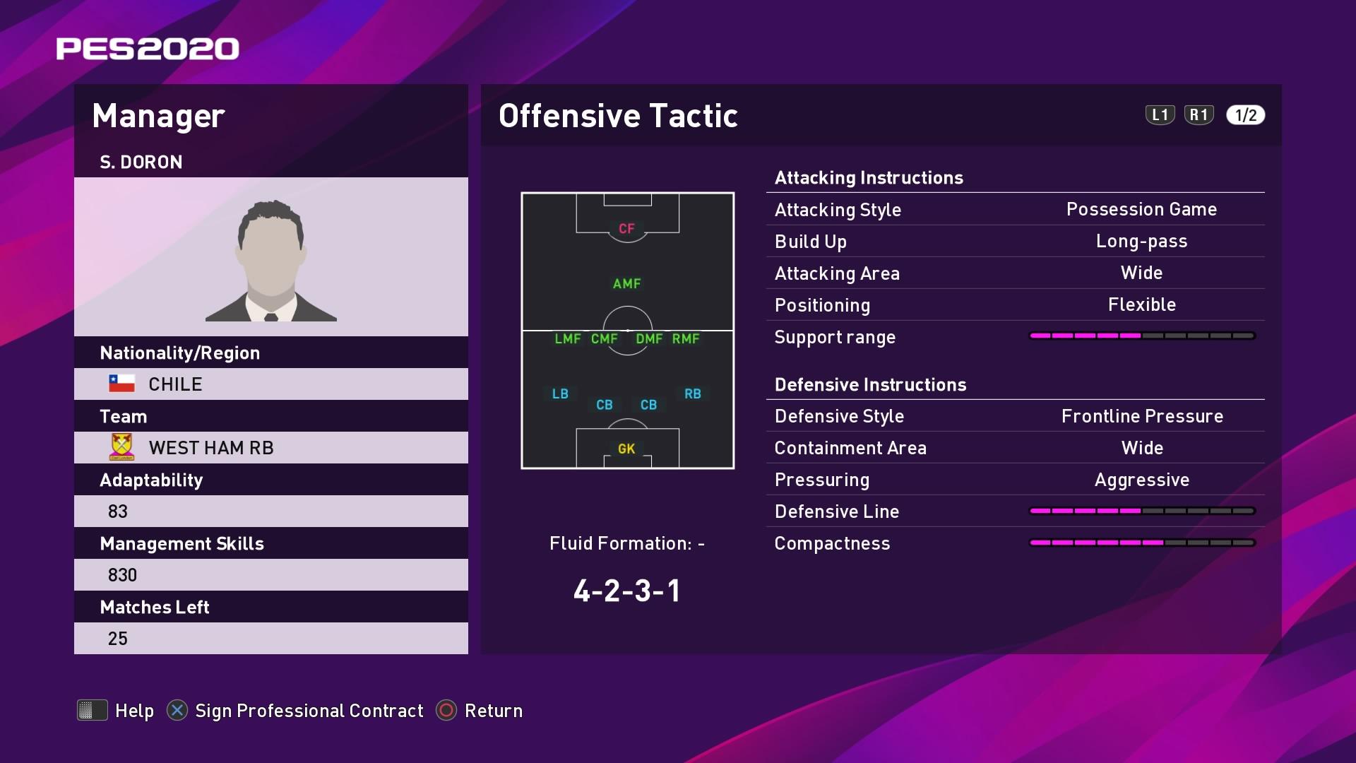 S. Doron (Manuel Pellegrini) Offensive Tactic in PES 2020 myClub