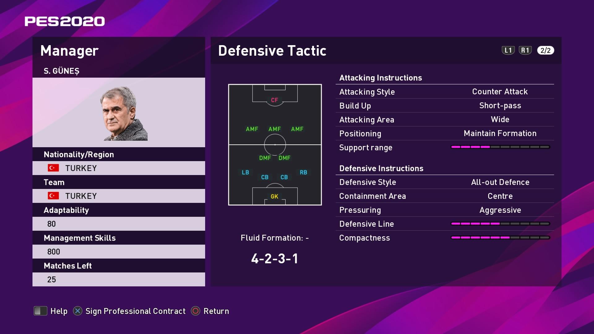 S. Gunes (Şenol Güneş) Defensive Tactic in PES 2020 myClub
