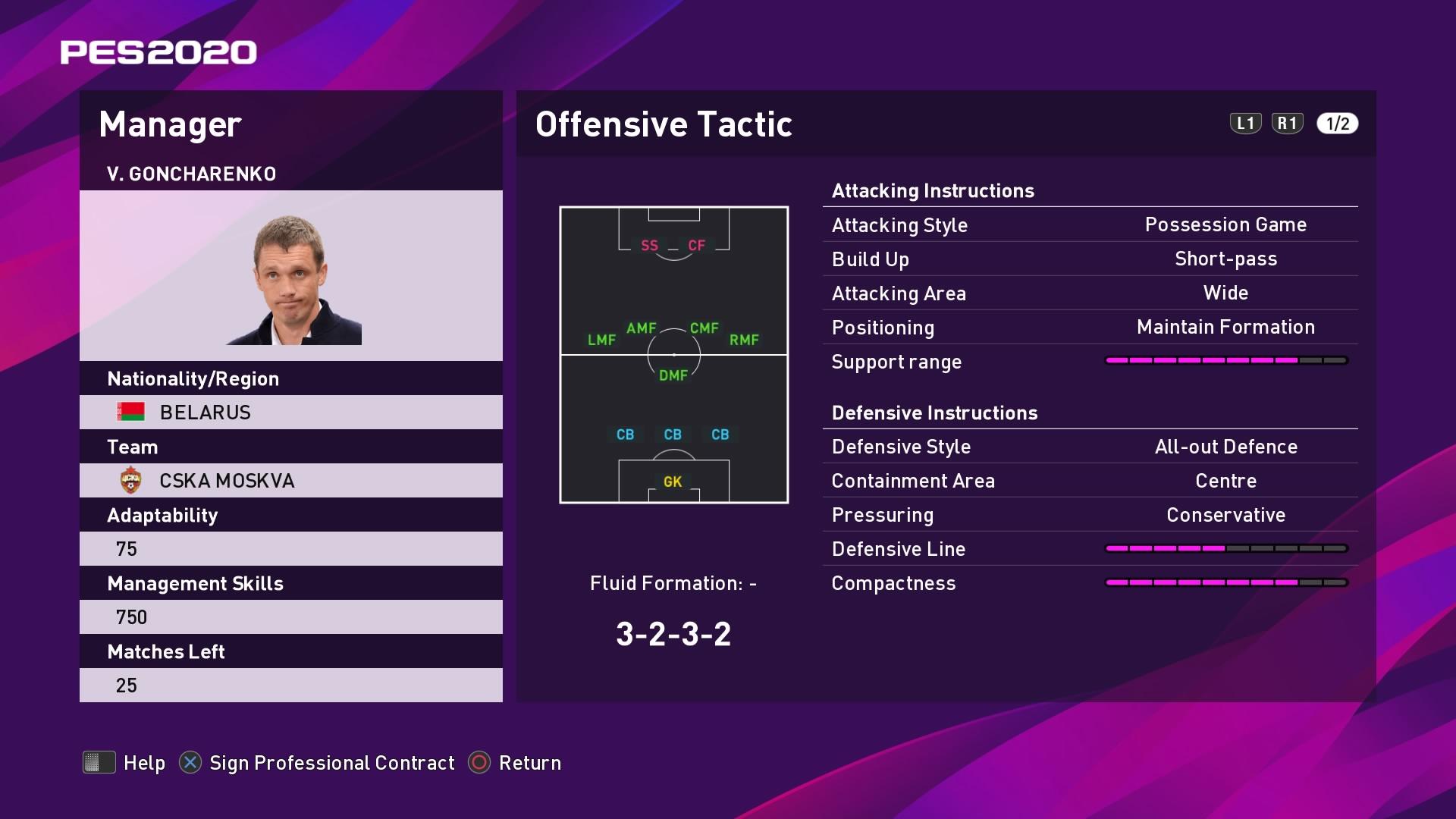 V. Goncharenko (Viktor Goncharenko) Offensive Tactic in PES 2020 myClub