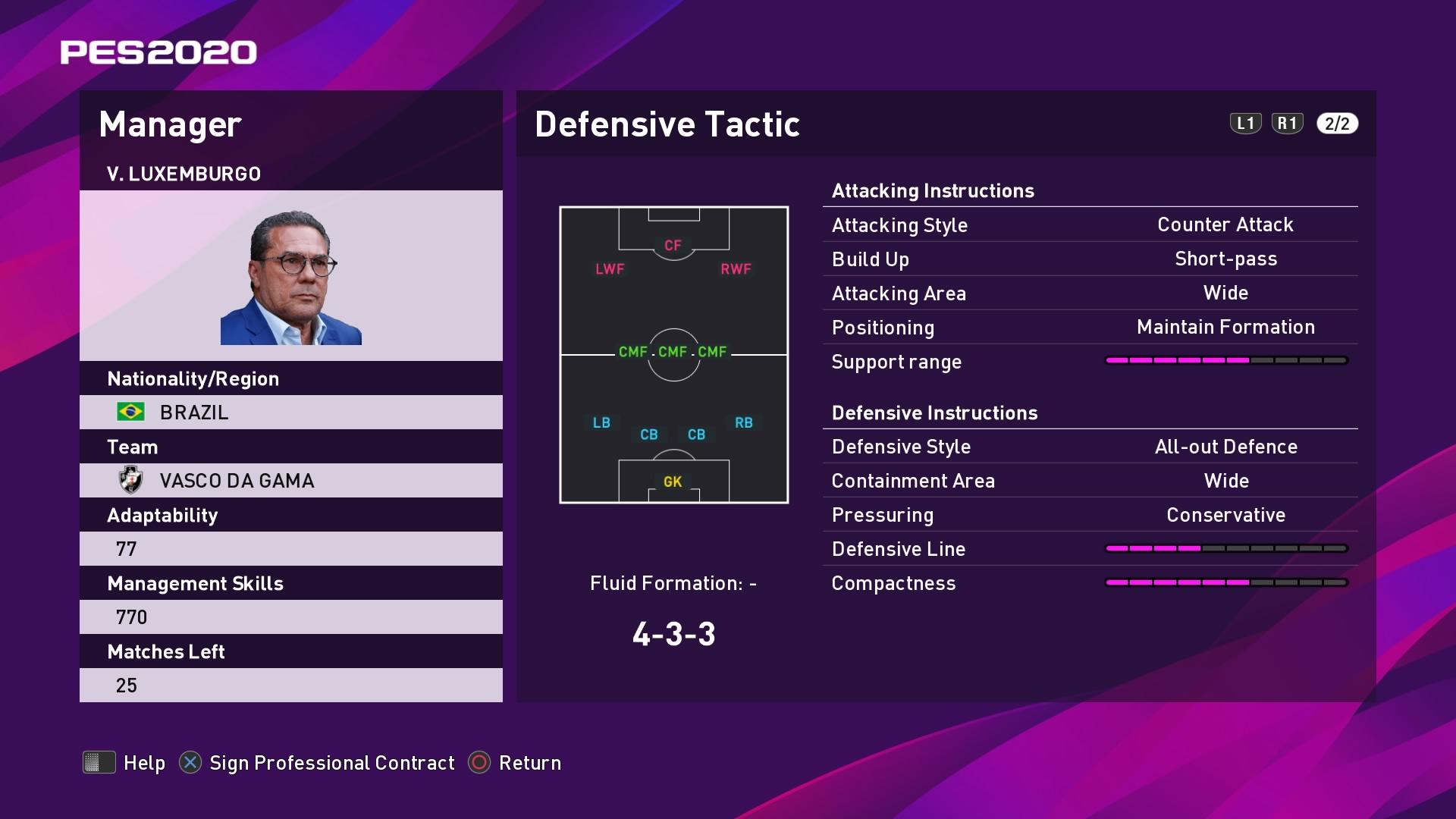 V. Luxemburgo (Vanderlei Luxemburgo) Defensive Tactic in PES 2020 myClub