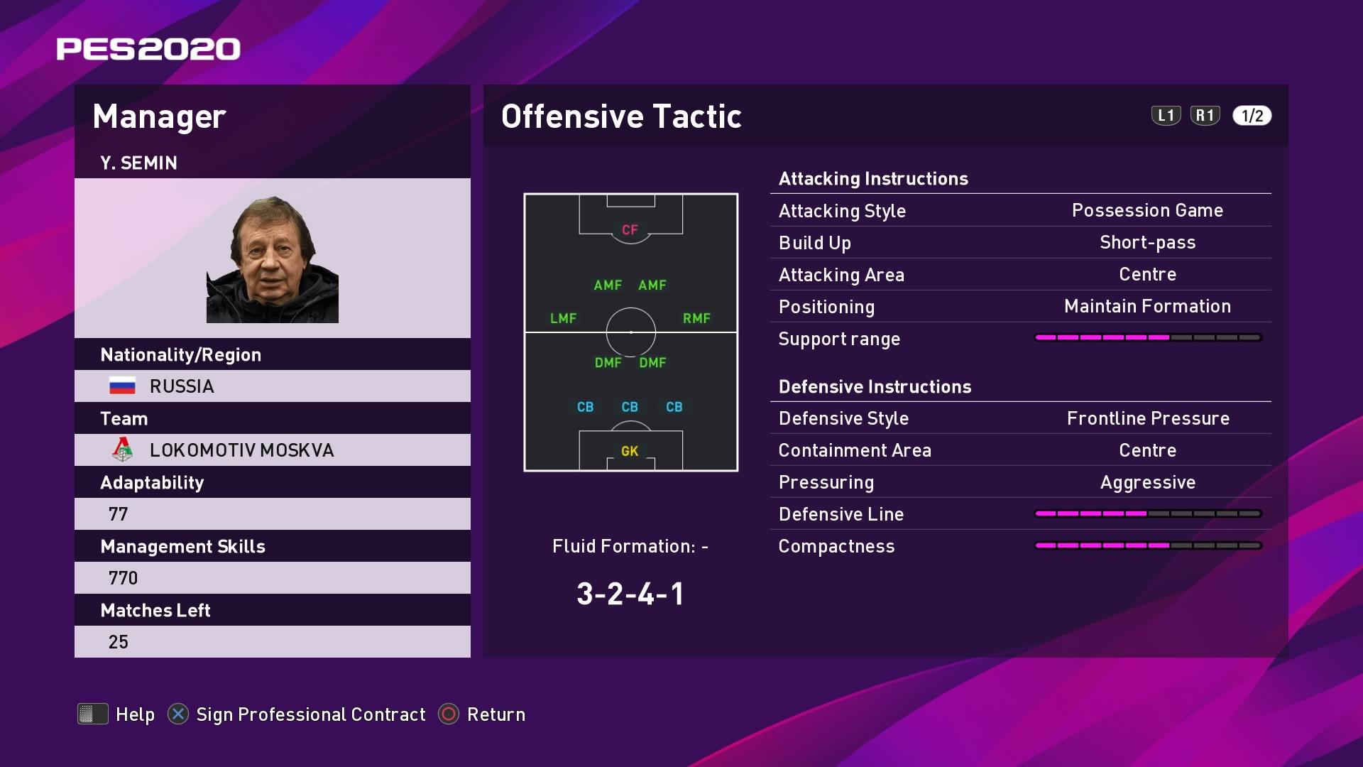 Y. Semin (Yuri Semin) Offensive Tactic in PES 2020 myClub