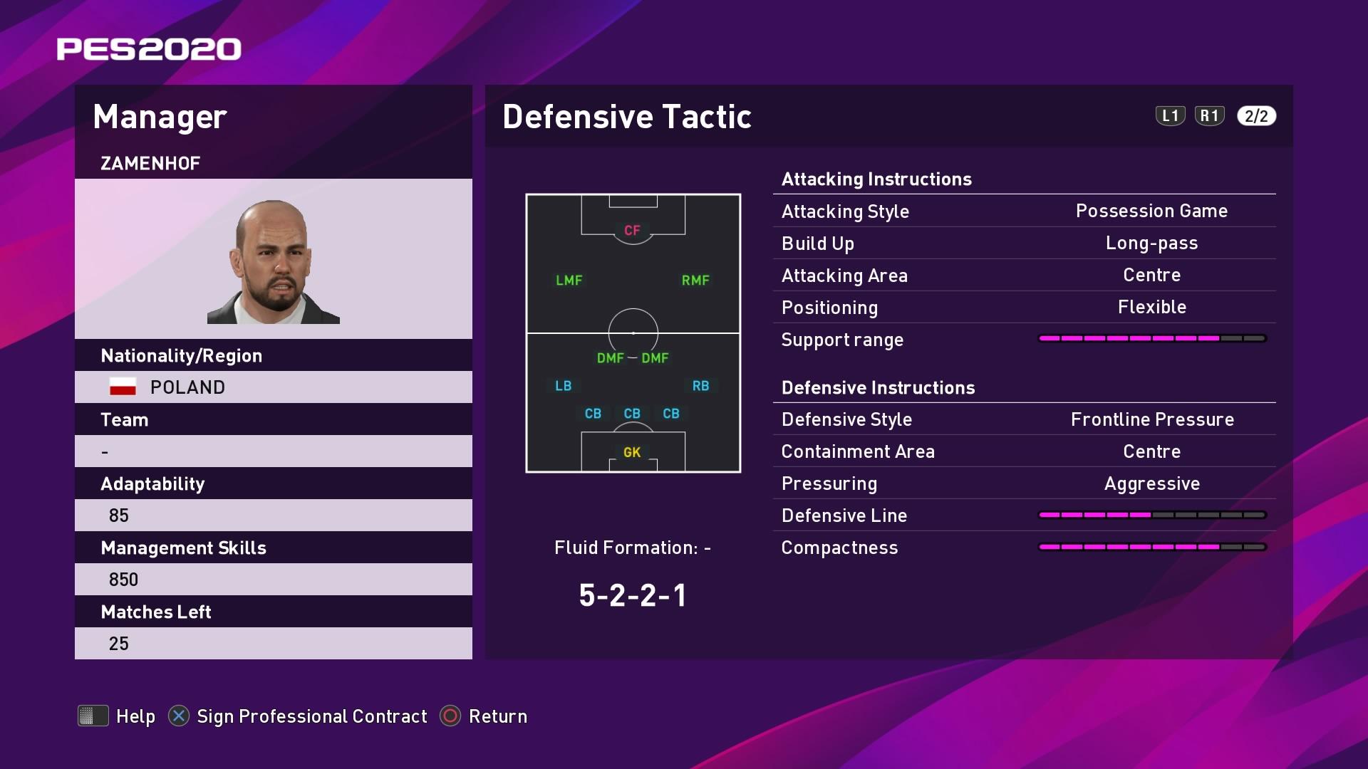 Zamenhof Defensive Tactic in PES 2020 myClub
