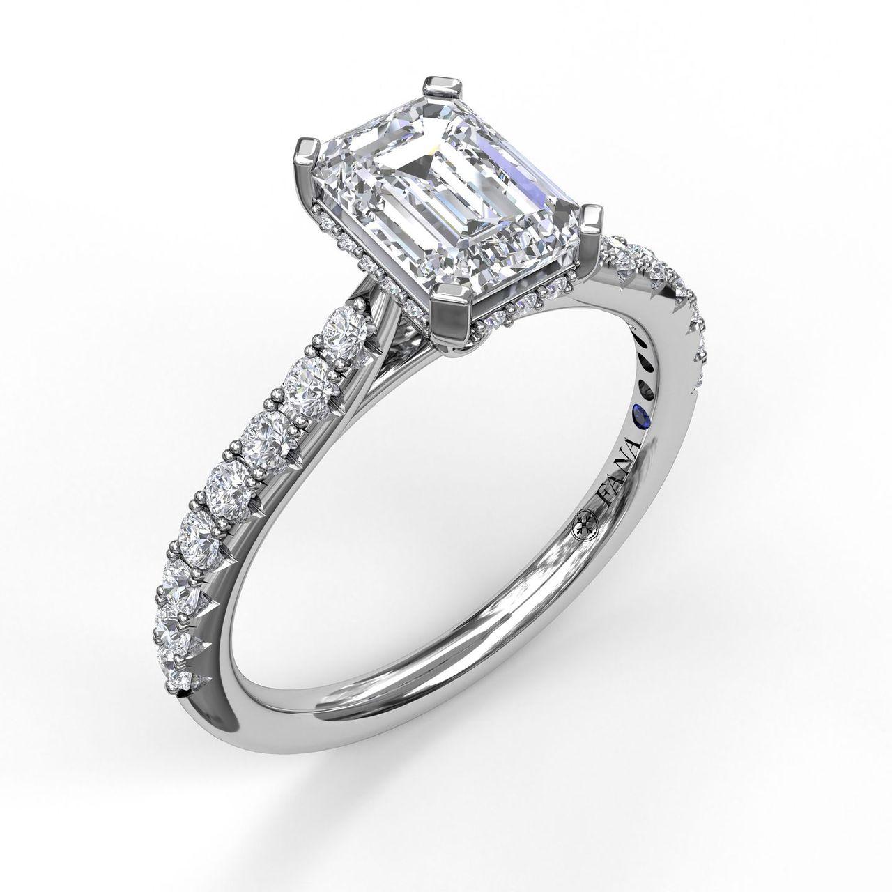 Classic Emerald Cut Engagement Ring with a Subtle Diamond Splash