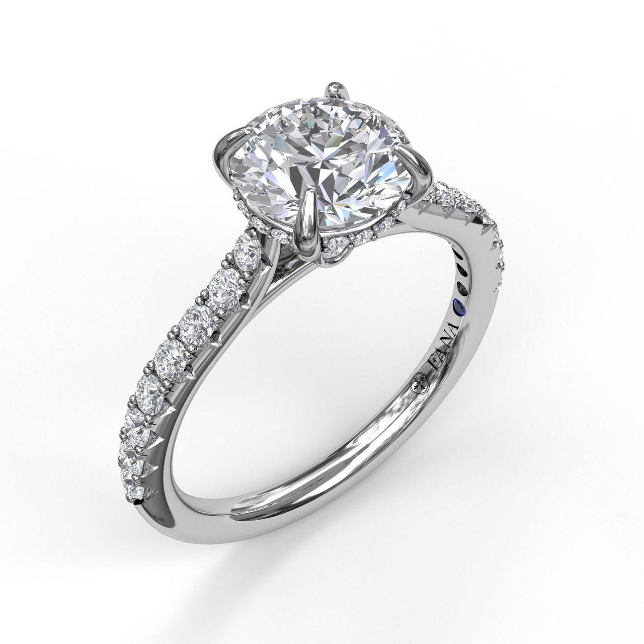 Classic Engagement Ring with a Subtle Diamond Splash