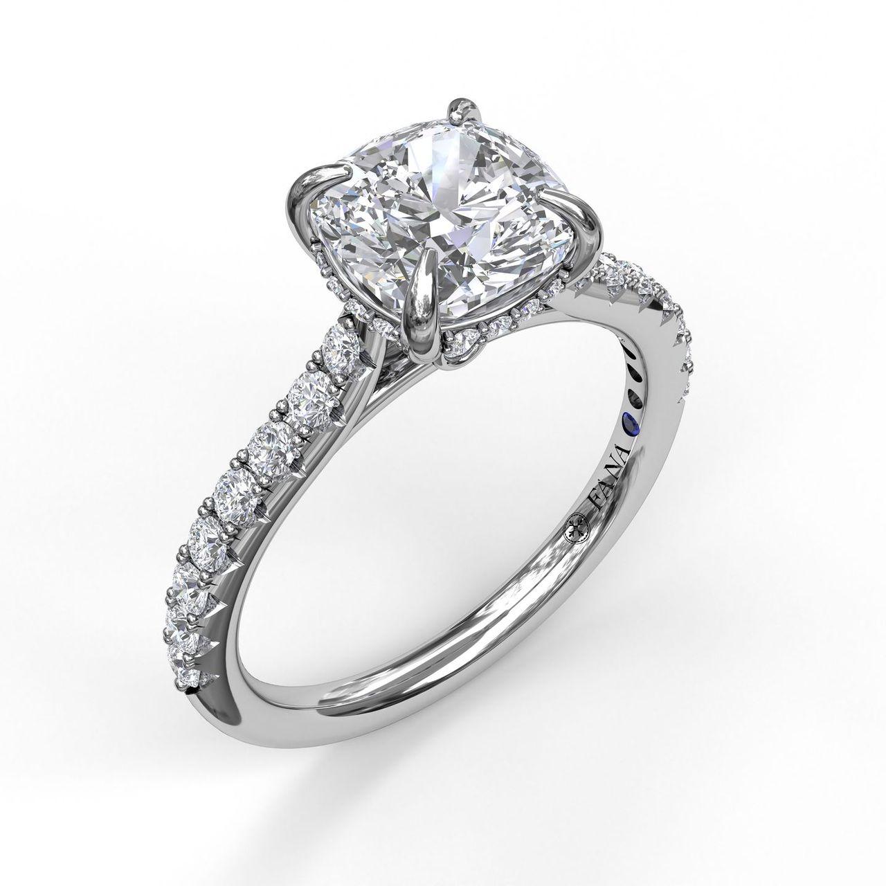 Classic Cushion Cut Engagement Ring with a Subtle Diamond Splash