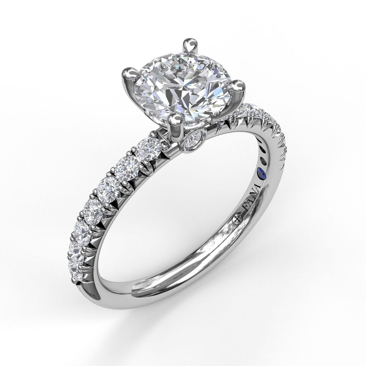 Classic French-Cut Pave Round Solitaire