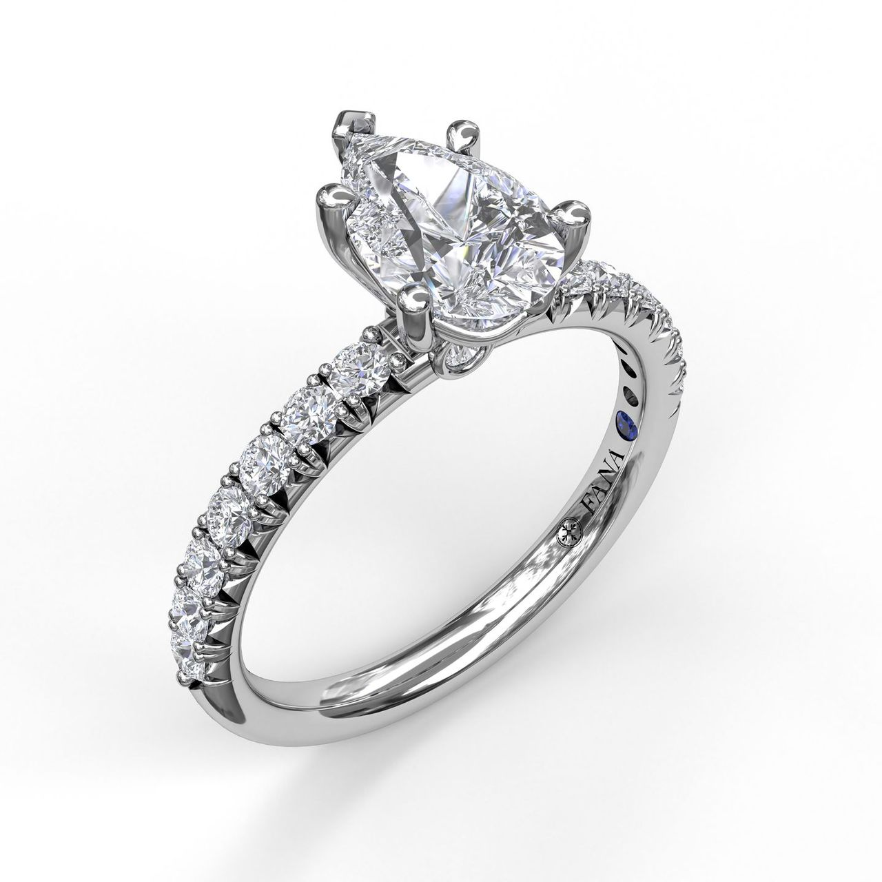 Pear Shape Solitaire With French Cut Pave
