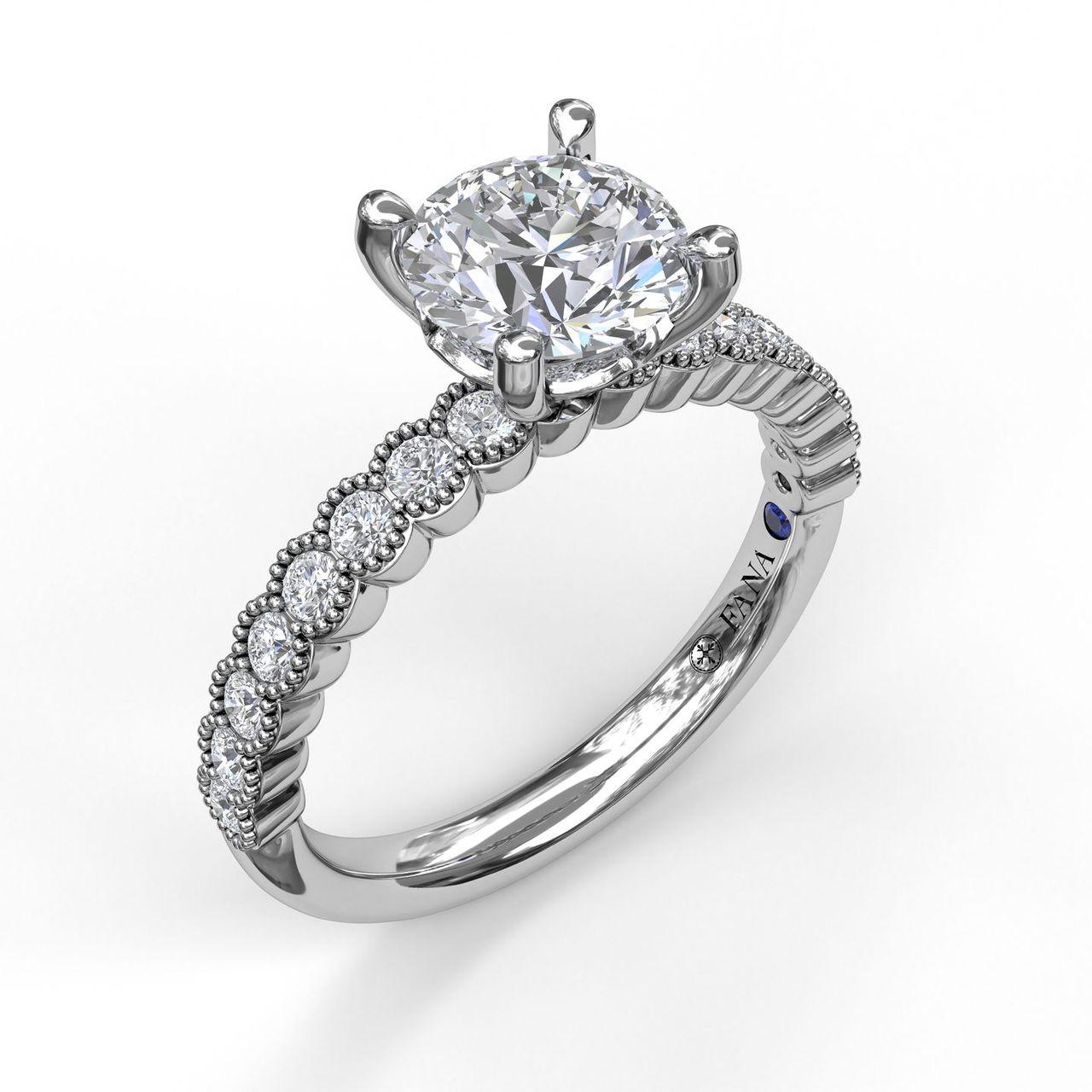 Diamond Engagement Ring with a Delicate Milgrain Edge