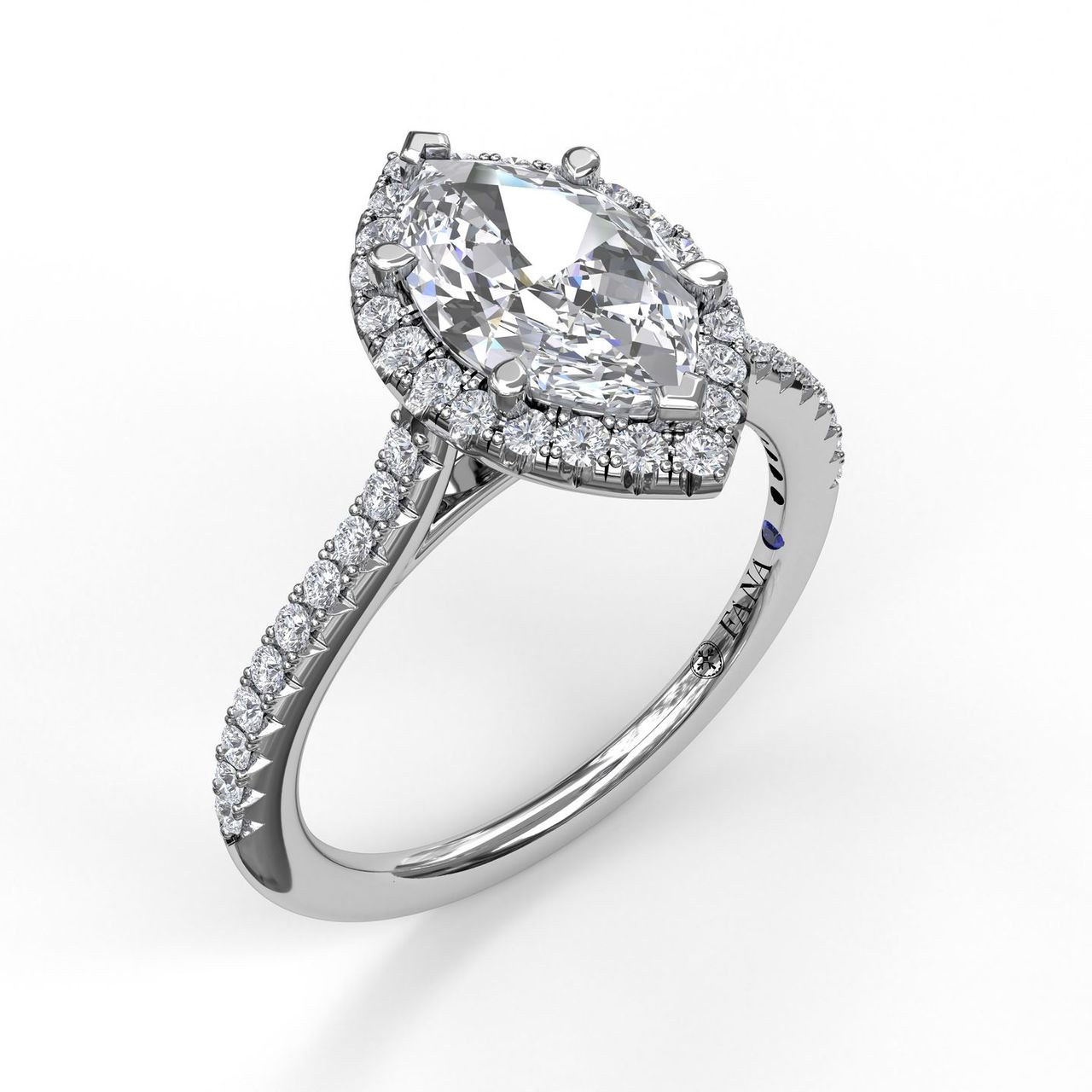 Marquise Diamond With Halo Engagement Ring
