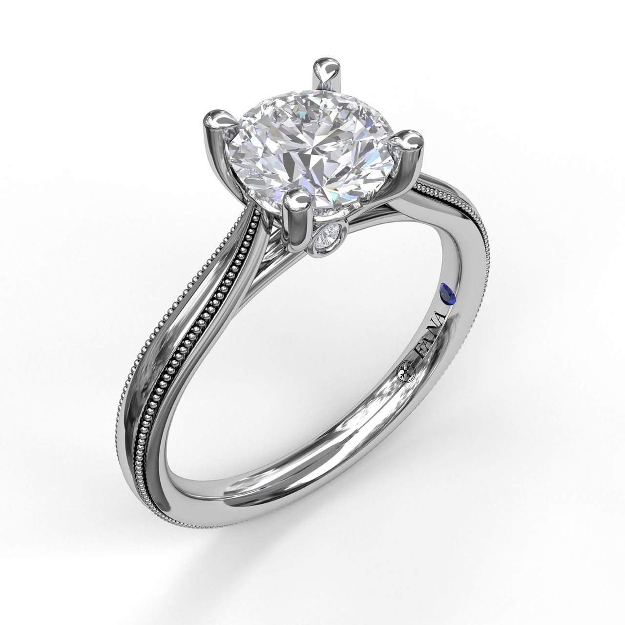 Round Cut Solitaire With Milgrain-Edged Band