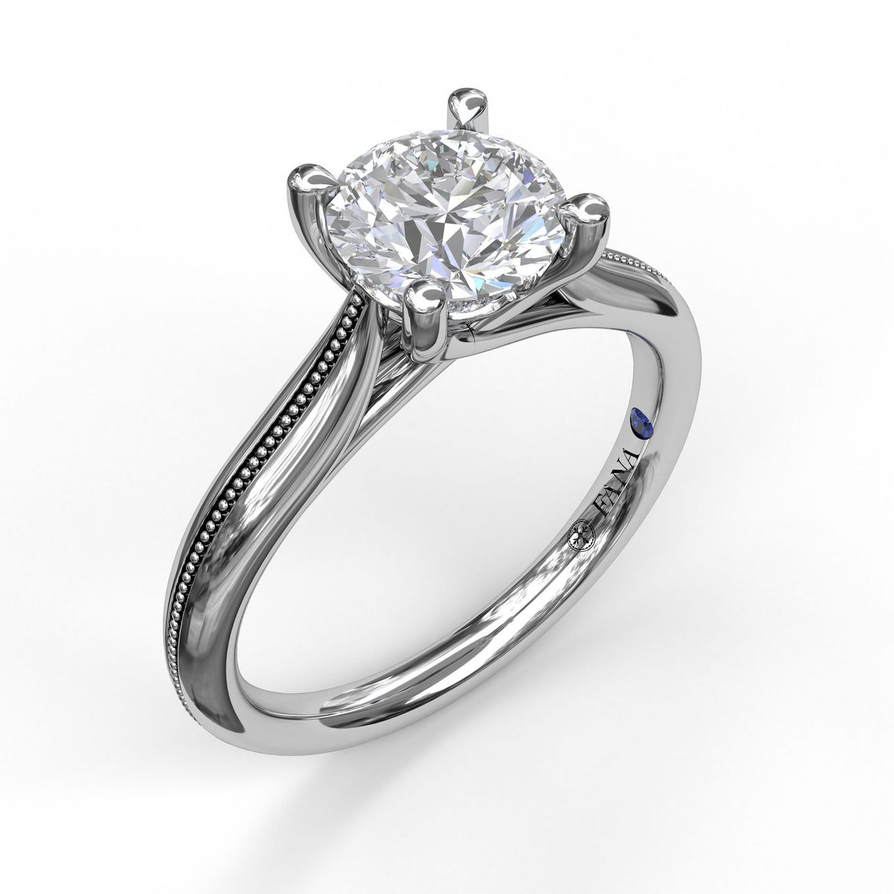 Round Cut Solitaire With Detailed Milgrain Band