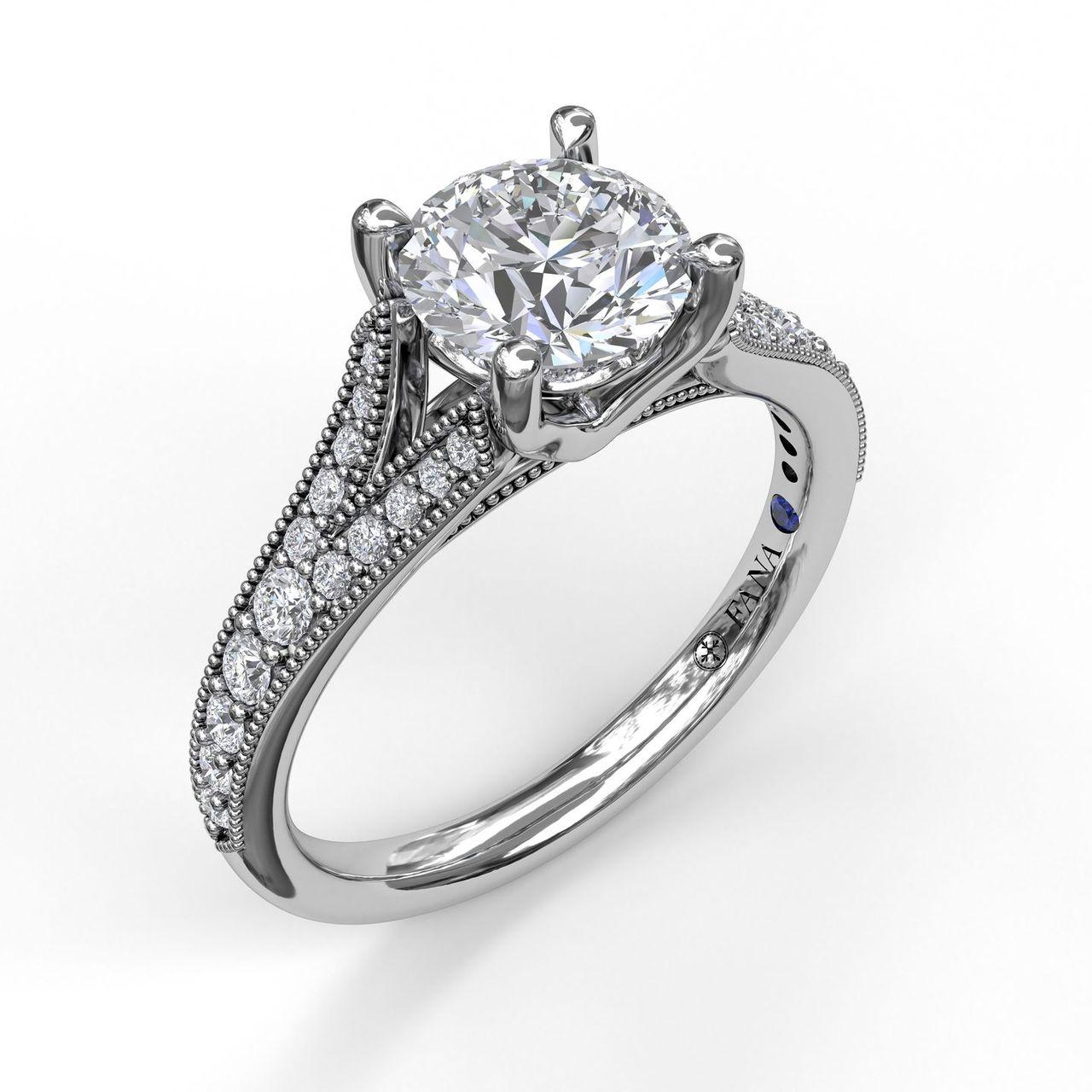 Subtle Split Band Engagement Ring With Milgrain Detail