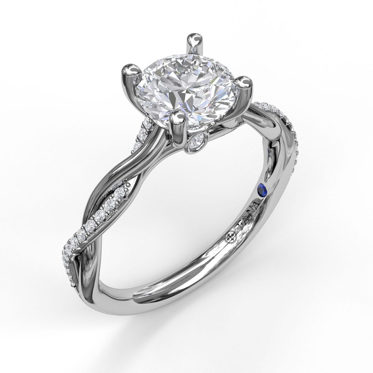 Round Cut Solitaire With Interwoven Band