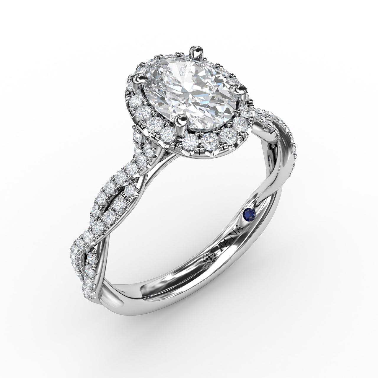 Oval Halo with Diamond Twist Shank