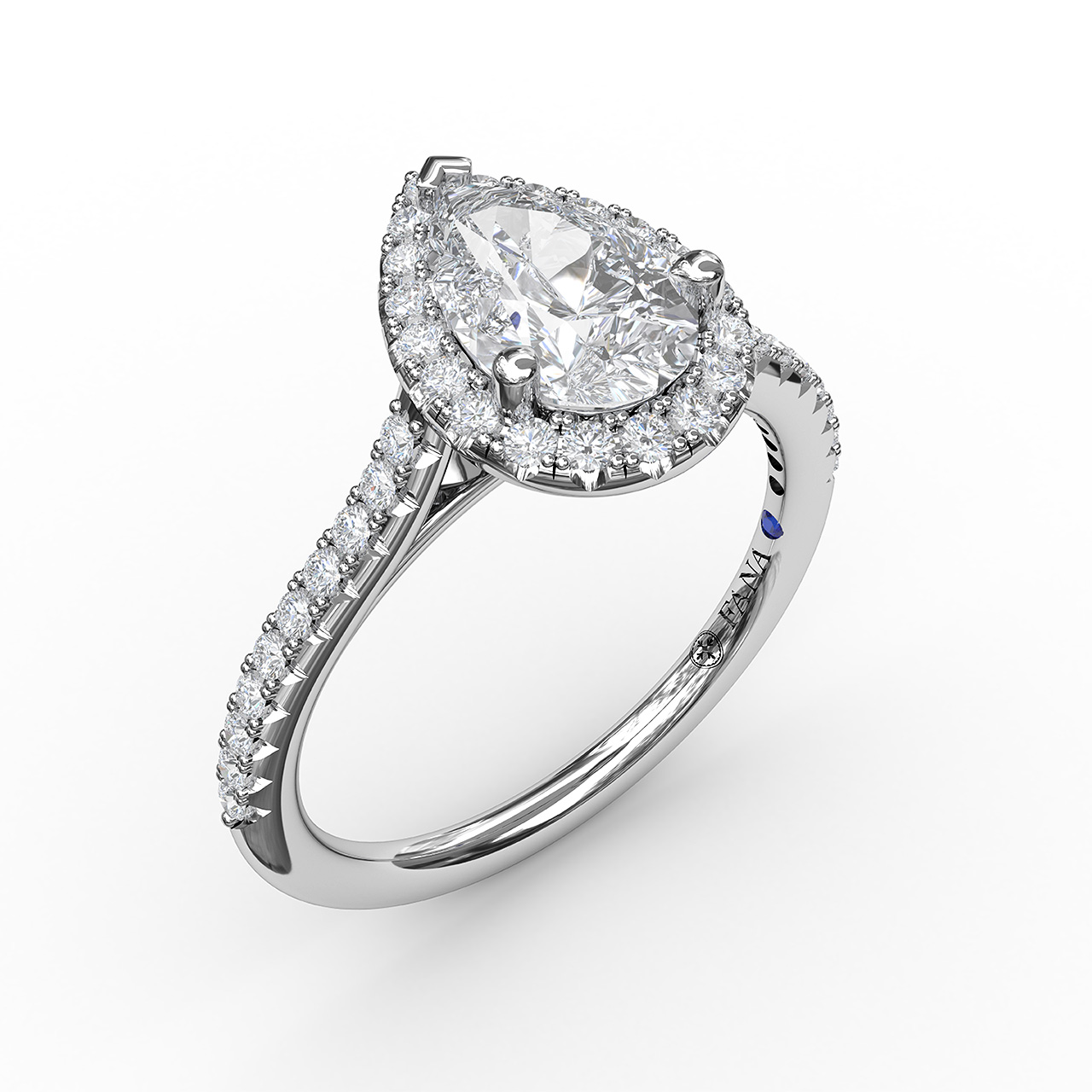 Delicate Pear Shaped Halo And Pave Band Engagement Ring