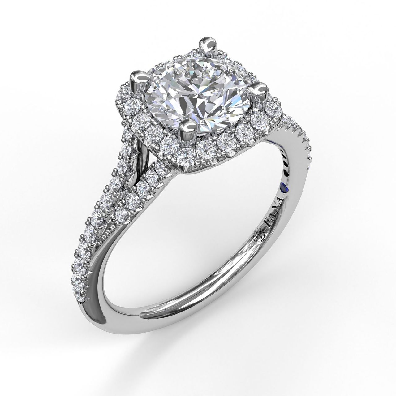 Classic Halo Engagement Ring with a Split Band