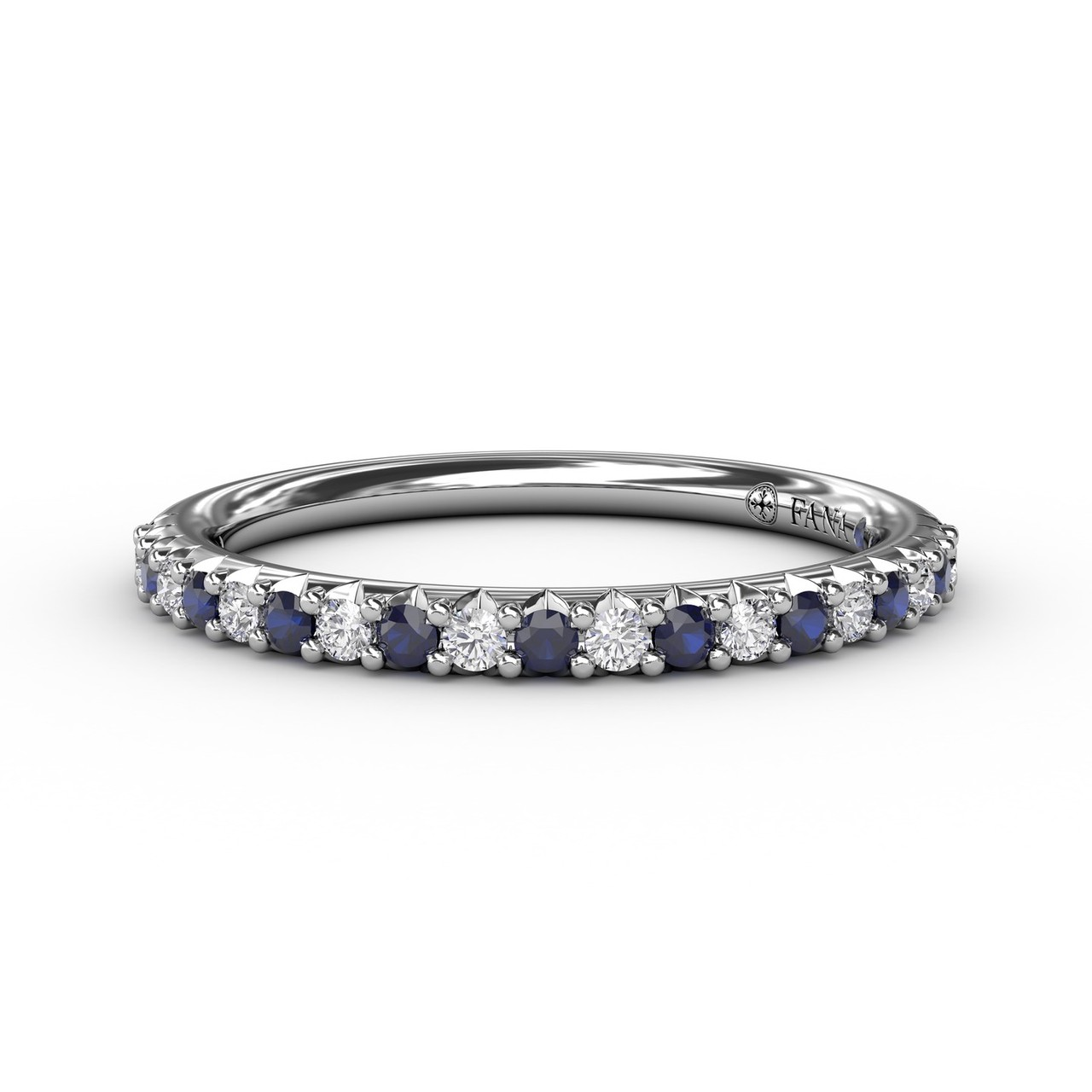 Delicate Sapphire Shared Prong Anniversary Band