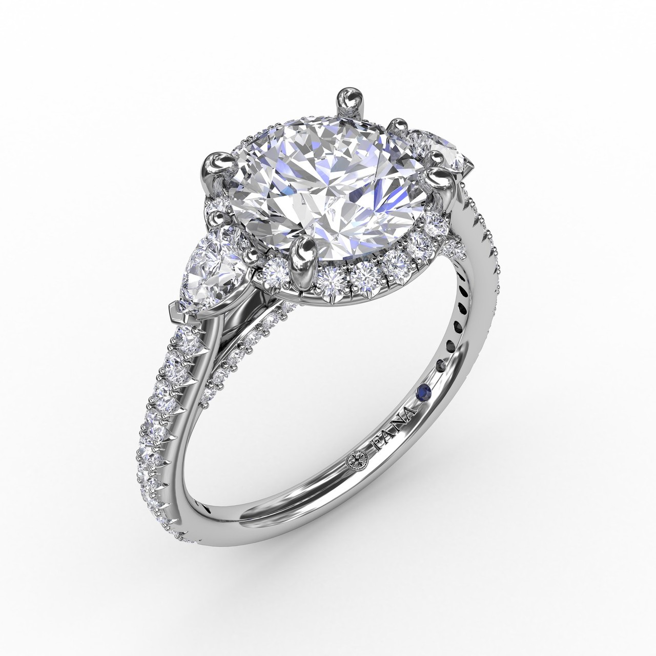 Round Diamond Halo Engagement Ring With Pear-Shape Side Stones