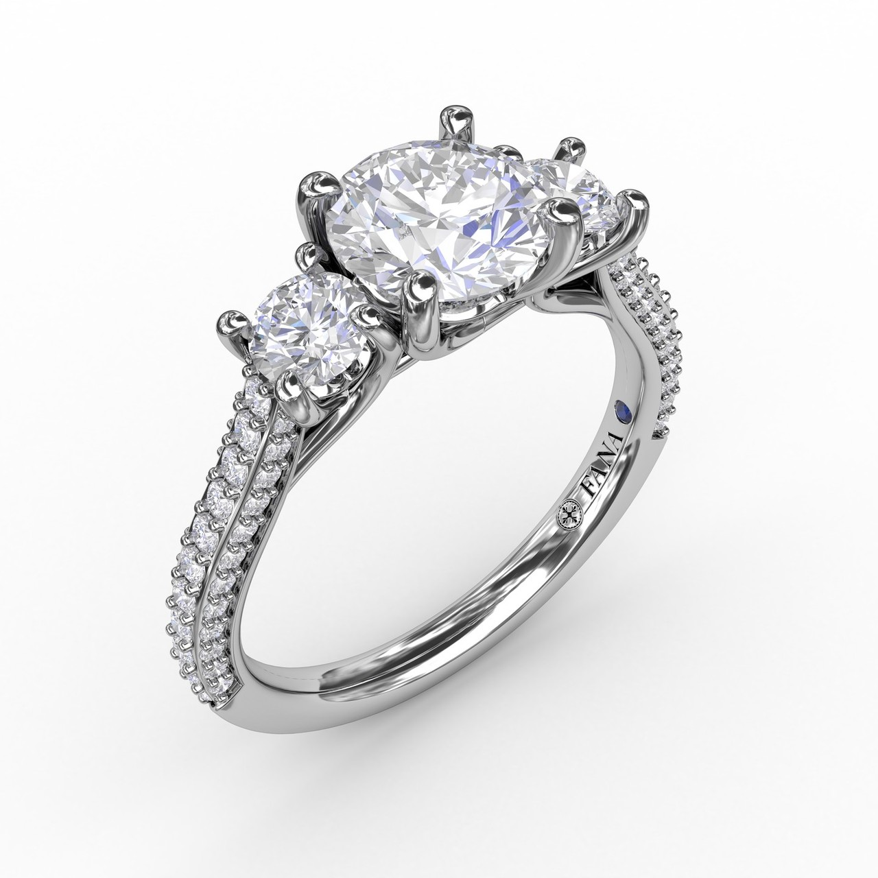 Classic Three-Stone Round Diamond Engagement Ring With Pave Band