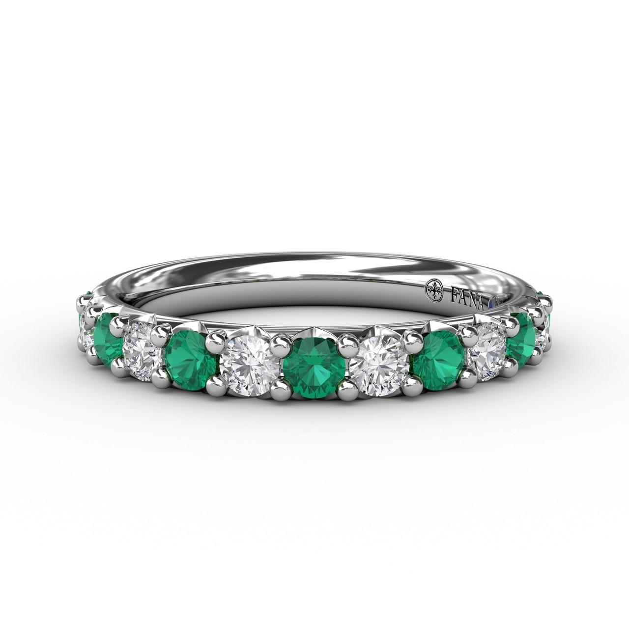 Emerald and Diamond Shared Prong Anniversary Band