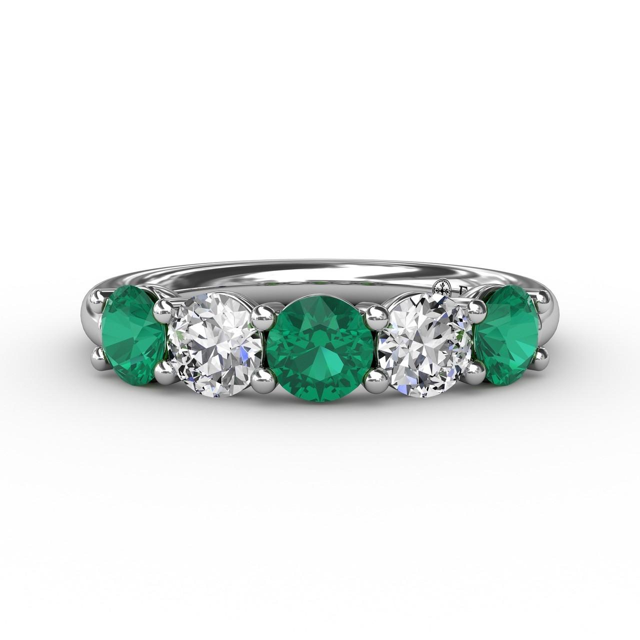 Chunky Emerald and Diamond Shared Prong Anniversary Band